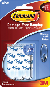 Command Clear Medium Refill Strips 9ct
