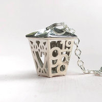 Akoue Akoue Sterling Silver 3D Lantern Necklace with Year