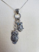 Vera Wolf Designs Sterling Silver Double Owl Necklace