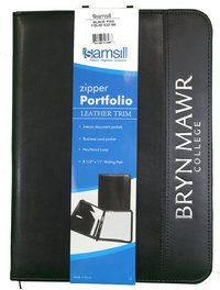 Samsill Leather Trim Zipper Portfolio