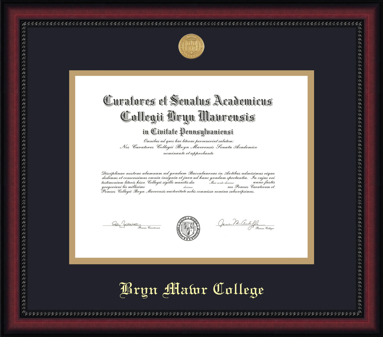 Diploma Frame - Legacy Medallion Seal | Bryn Mawr College Bookstore